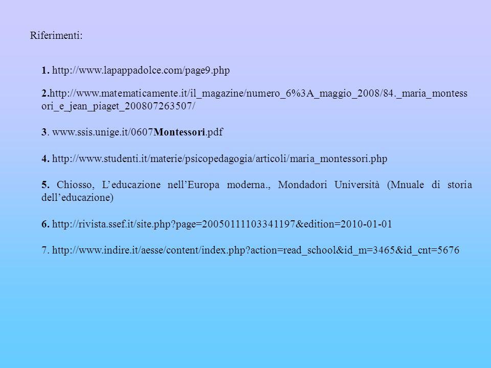 Riferimenti: 1. http://www.lapappadolce.com/page9.php.