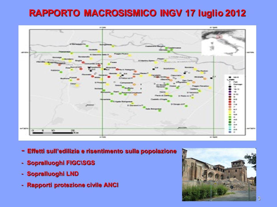 RAPPORTO MACROSISMICO INGV 17 luglio 2012