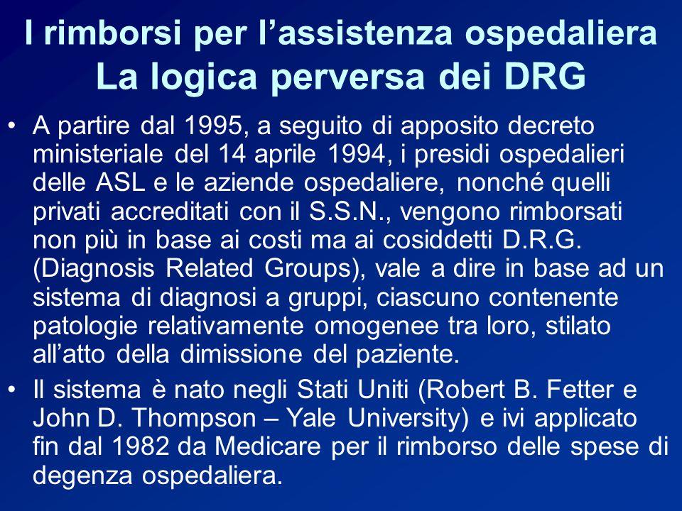 I rimborsi per l'assistenza ospedaliera La logica perversa dei DRG