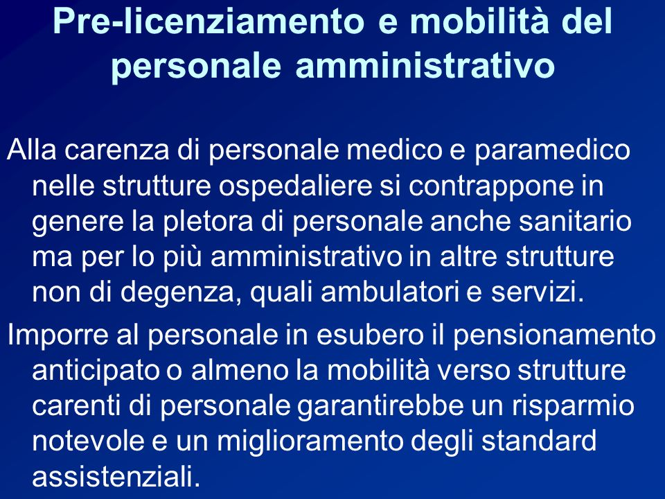 Pre-licenziamento e mobilità del personale amministrativo