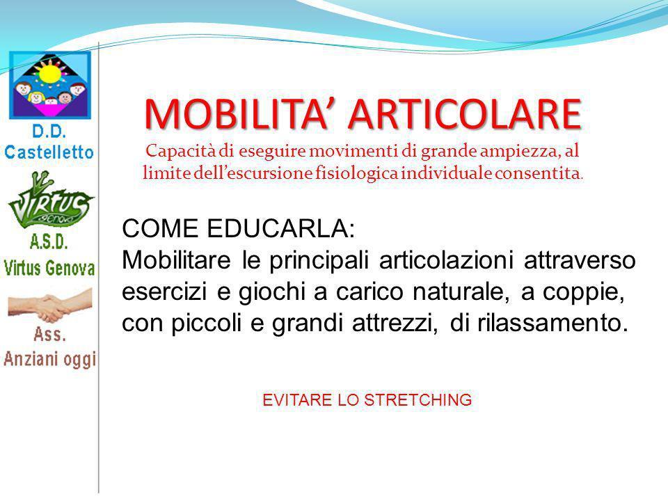 MOBILITA' ARTICOLARE COME EDUCARLA: