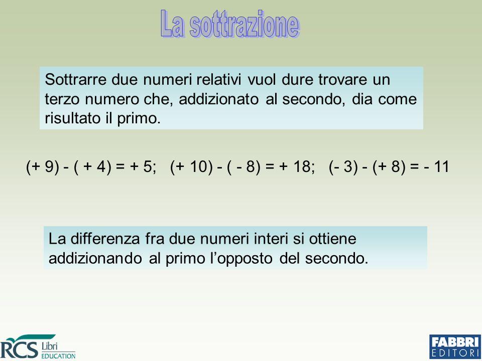 La sottrazione Sottrarre due numeri relativi vuol dure trovare un terzo numero che, addizionato al secondo, dia come risultato il primo.