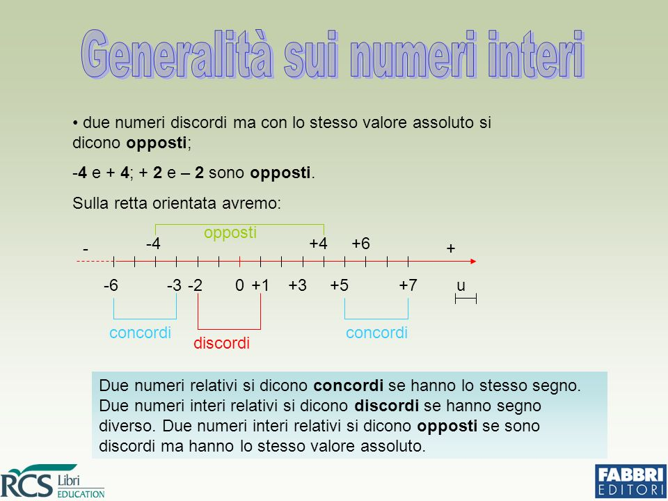 Generalità sui numeri interi