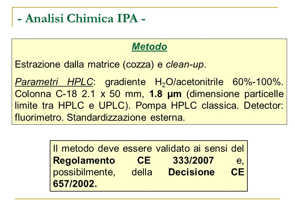 - Analisi Chimica IPA - Metodo