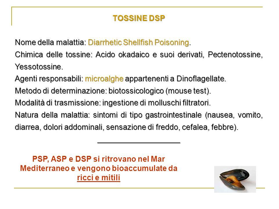 TOSSINE DSP Nome della malattia: Diarrhetic Shellfish Poisoning.