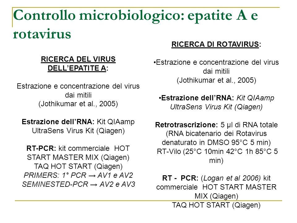 Controllo microbiologico: epatite A e rotavirus