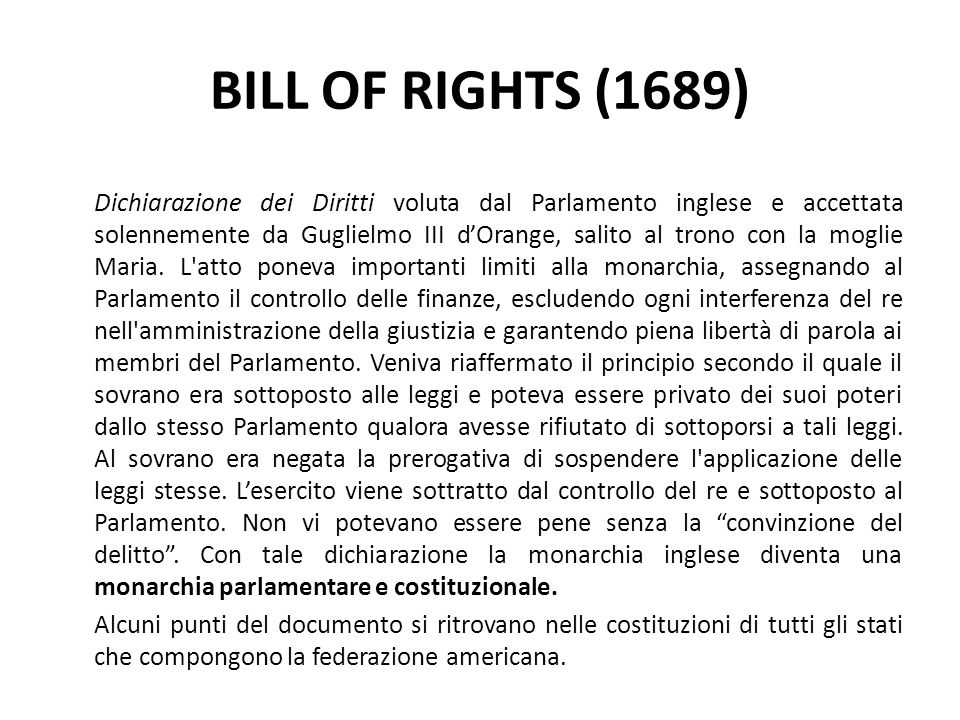 BILL OF RIGHTS (1689)