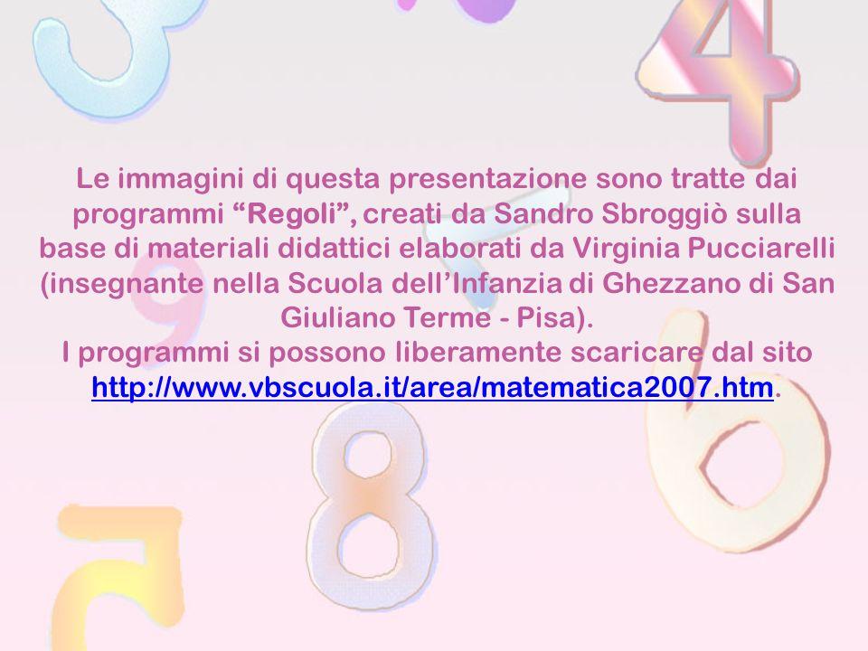Le immagini di questa presentazione sono tratte dai programmi Regoli , creati da Sandro Sbroggiò sulla base di materiali didattici elaborati da Virginia Pucciarelli (insegnante nella Scuola dell'Infanzia di Ghezzano di San Giuliano Terme - Pisa).