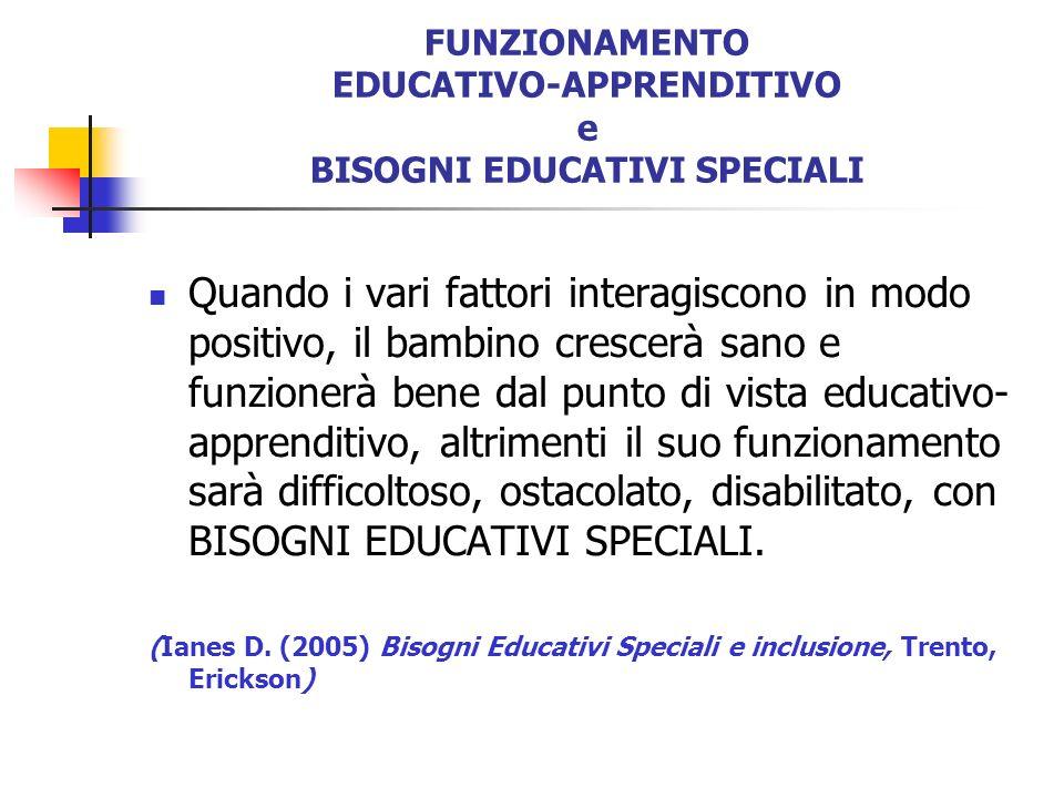FUNZIONAMENTO EDUCATIVO-APPRENDITIVO e BISOGNI EDUCATIVI SPECIALI
