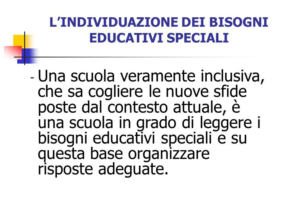 L'INDIVIDUAZIONE DEI BISOGNI EDUCATIVI SPECIALI