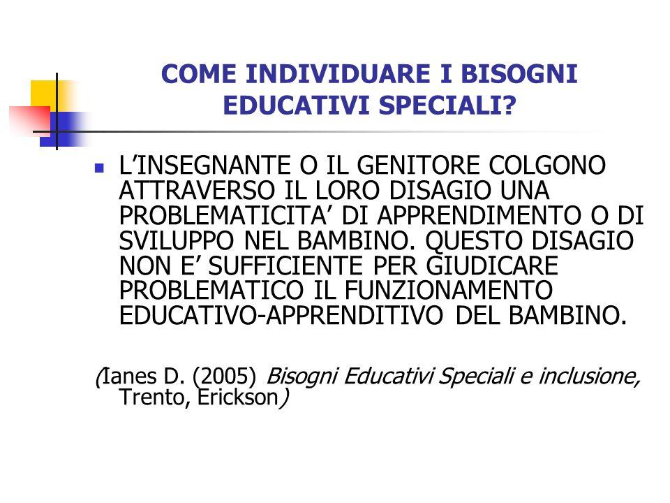 COME INDIVIDUARE I BISOGNI EDUCATIVI SPECIALI