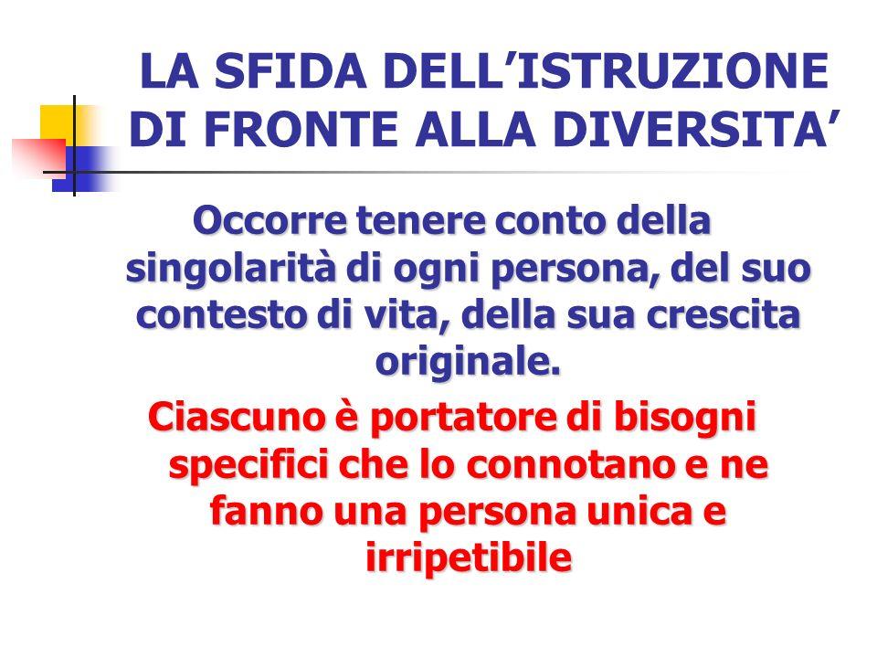 LA SFIDA DELL'ISTRUZIONE DI FRONTE ALLA DIVERSITA'