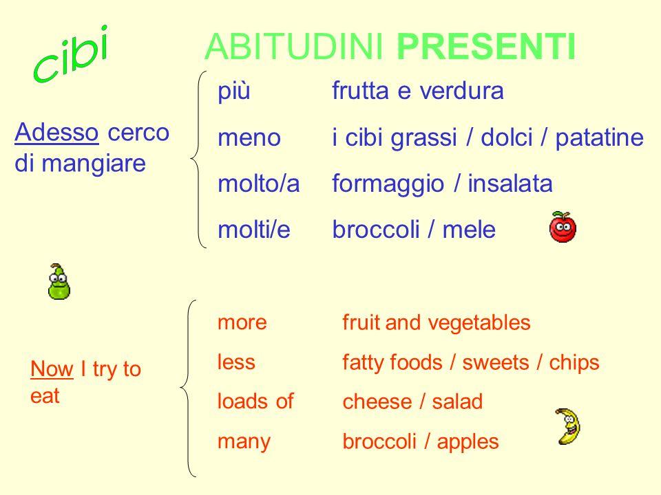 ABITUDINI PRESENTI cibi più meno molto/a molti/e frutta e verdura