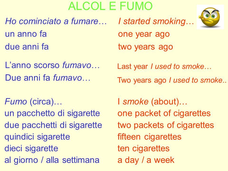 ALCOL E FUMO Ho cominciato a fumare… un anno fa due anni fa
