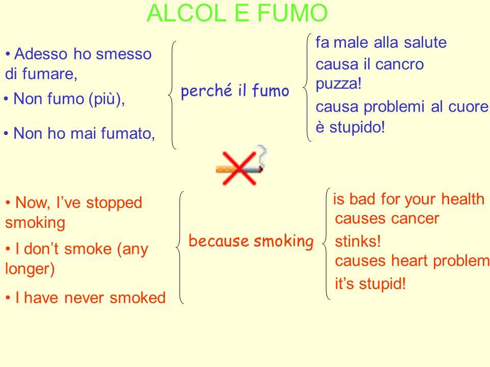 ALCOL E FUMO fa male alla salute Adesso ho smesso di fumare,