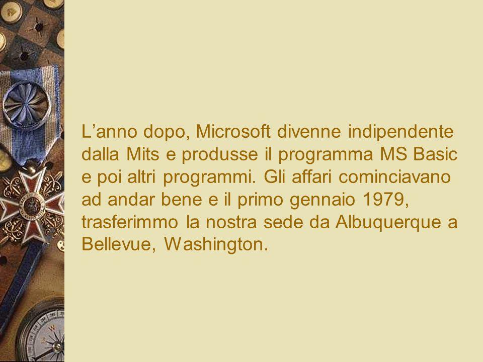 L'anno dopo, Microsoft divenne indipendente dalla Mits e produsse il programma MS Basic e poi altri programmi.