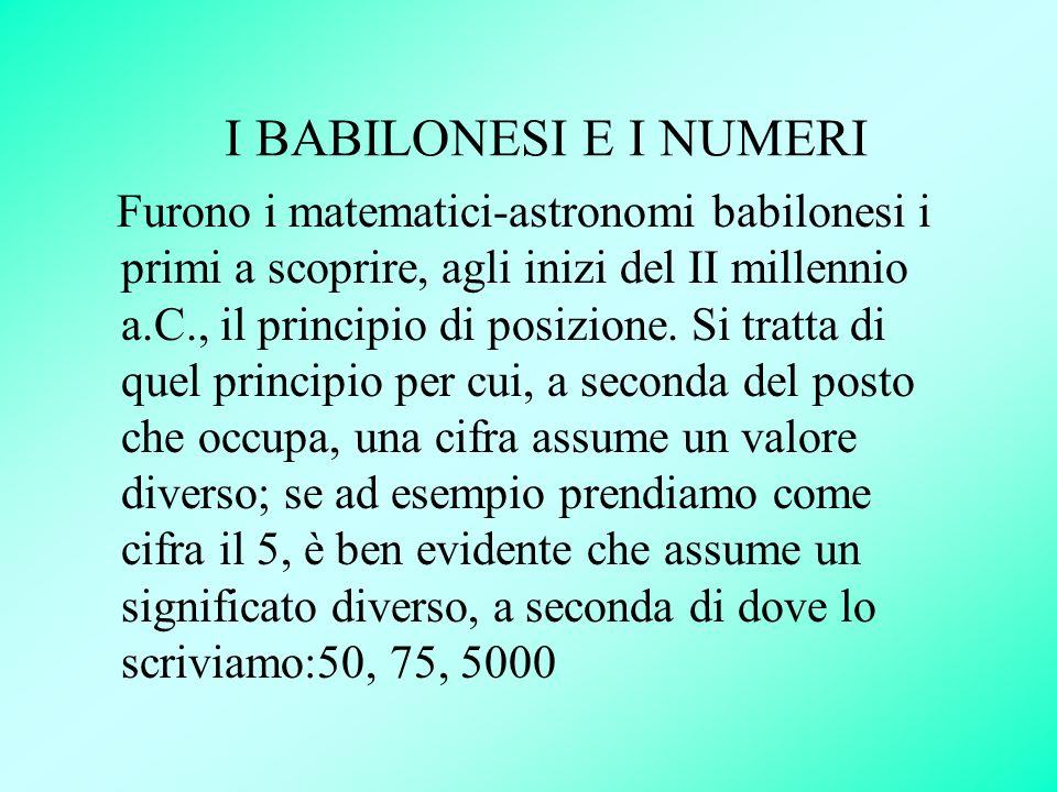 I BABILONESI E I NUMERI