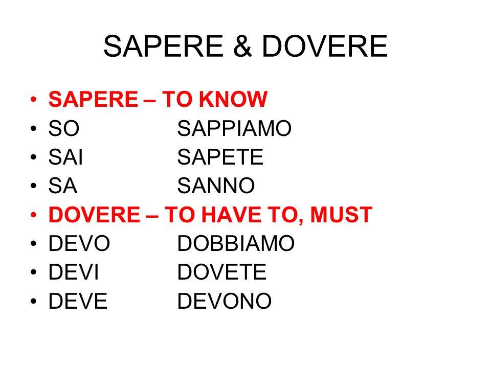SAPERE & DOVERE SAPERE – TO KNOW SO SAPPIAMO SAI SAPETE SA SANNO