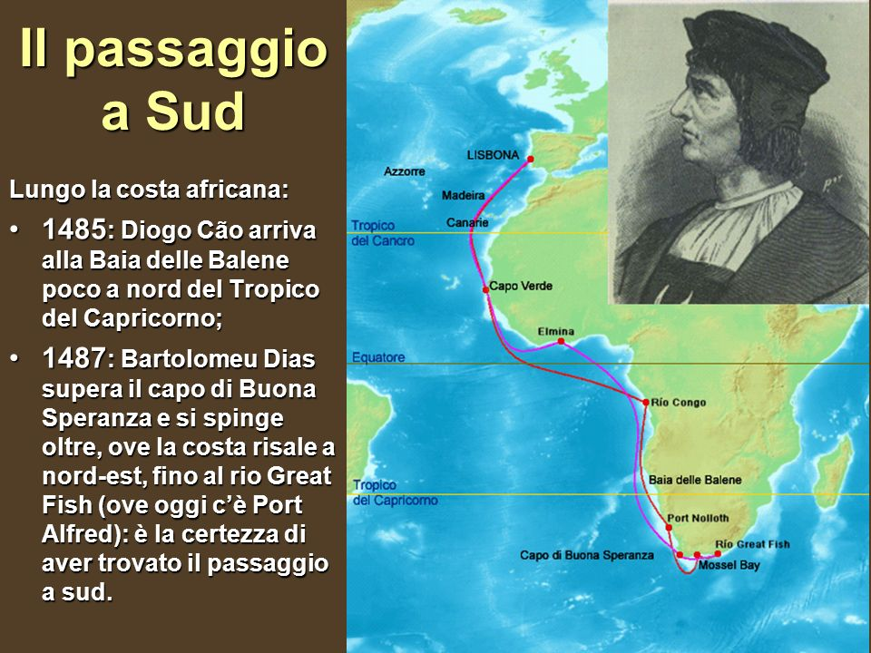 Il passaggio a Sud Lungo la costa africana: 1485: Diogo Cão arriva alla Baia delle Balene poco a nord del Tropico del Capricorno;