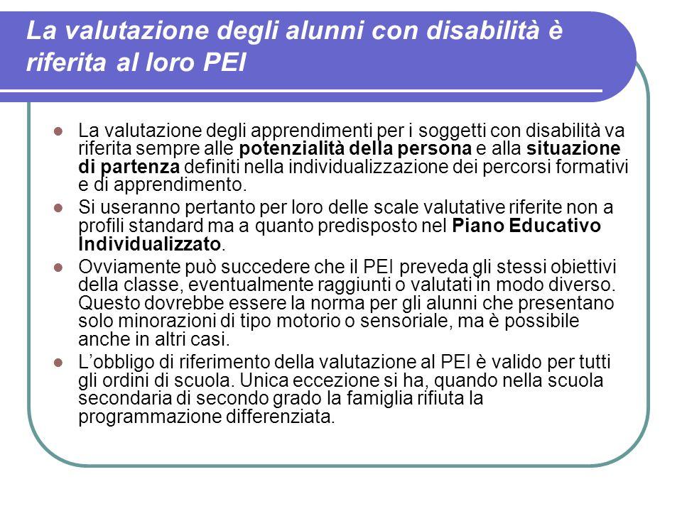 La valutazione degli alunni con disabilità è riferita al loro PEI