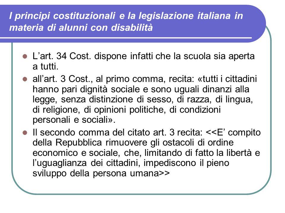 I principi costituzionali e la legislazione italiana in materia di alunni con disabilità