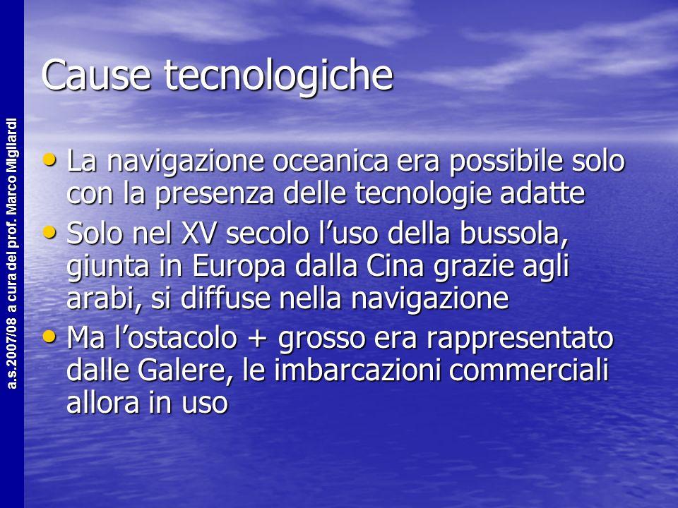 Cause tecnologiche La navigazione oceanica era possibile solo con la presenza delle tecnologie adatte.