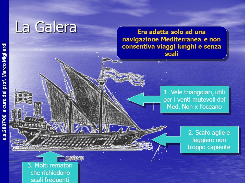 La Galera Era adatta solo ad una navigazione Mediterranea e non consentiva viaggi lunghi e senza scali.