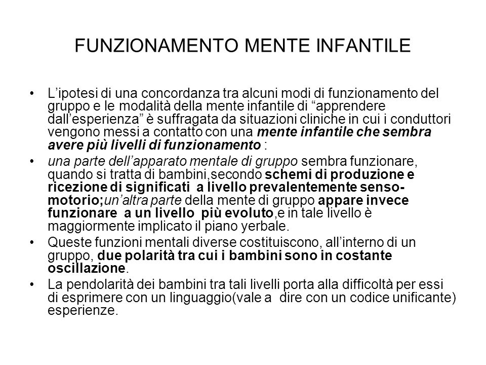 FUNZIONAMENTO MENTE INFANTILE