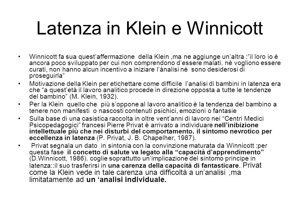 Latenza in Klein e Winnicott