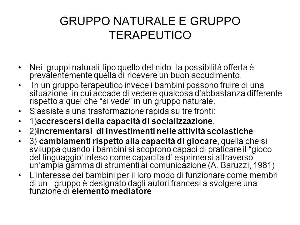 GRUPPO NATURALE E GRUPPO TERAPEUTICO