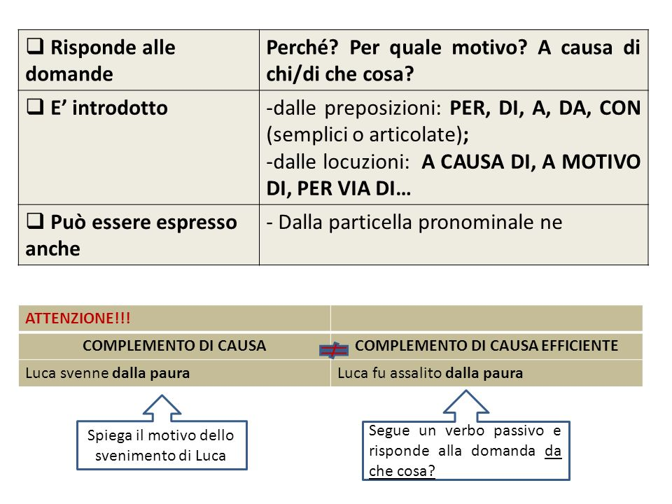 COMPLEMENTO DI CAUSA EFFICIENTE