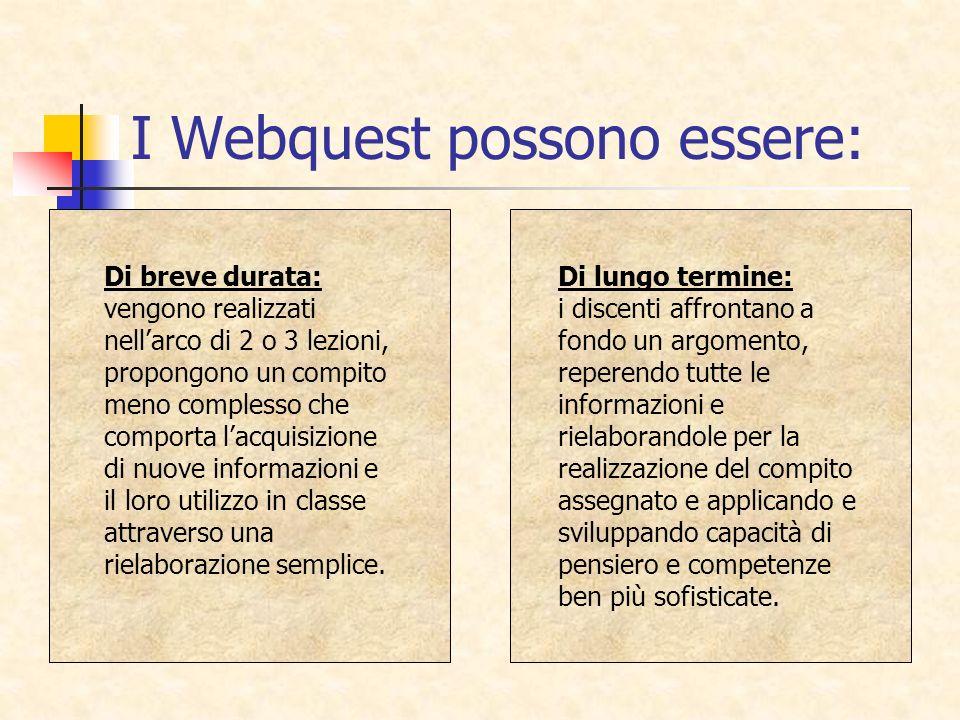 I Webquest possono essere: