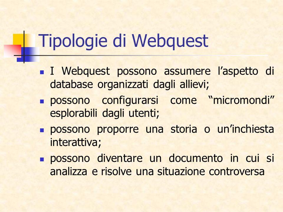Tipologie di Webquest I Webquest possono assumere l'aspetto di database organizzati dagli allievi;