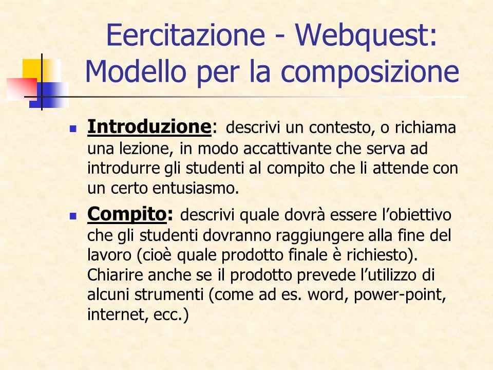 Eercitazione - Webquest: Modello per la composizione