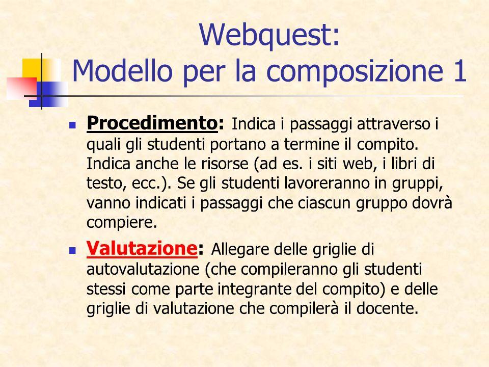 Webquest: Modello per la composizione 1