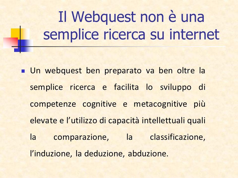 Il Webquest non è una semplice ricerca su internet