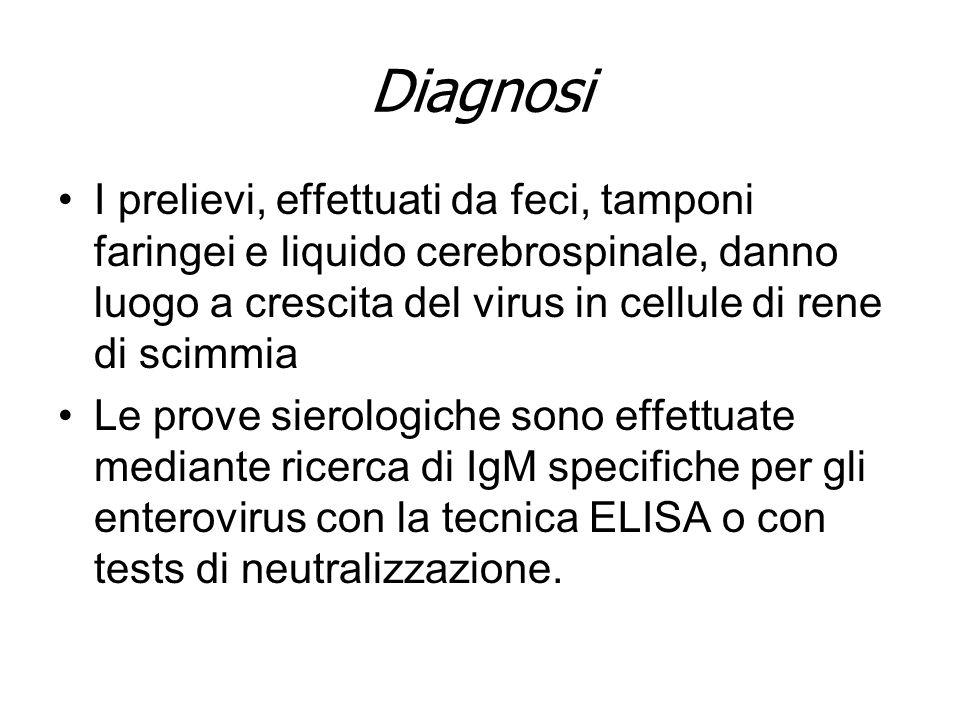 DiagnosiI prelievi, effettuati da feci, tamponi faringei e liquido cerebrospinale, danno luogo a crescita del virus in cellule di rene di scimmia.