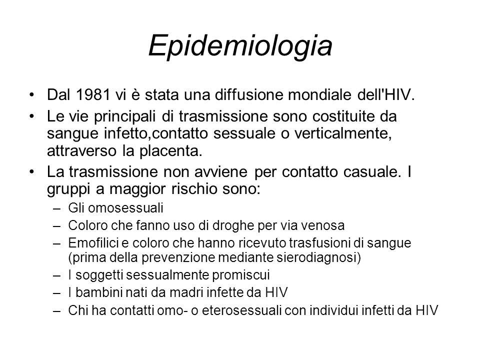 Epidemiologia Dal 1981 vi è stata una diffusione mondiale dell HIV.