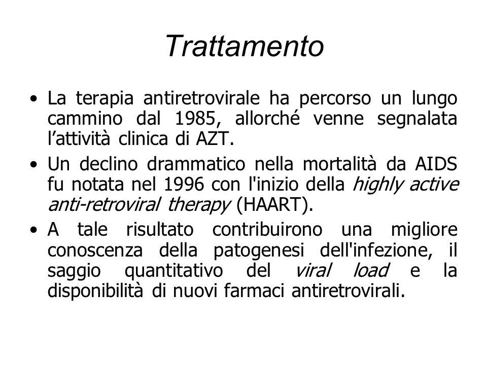 Trattamento La terapia antiretrovirale ha percorso un lungo cammino dal 1985, allorché venne segnalata l'attività clinica di AZT.