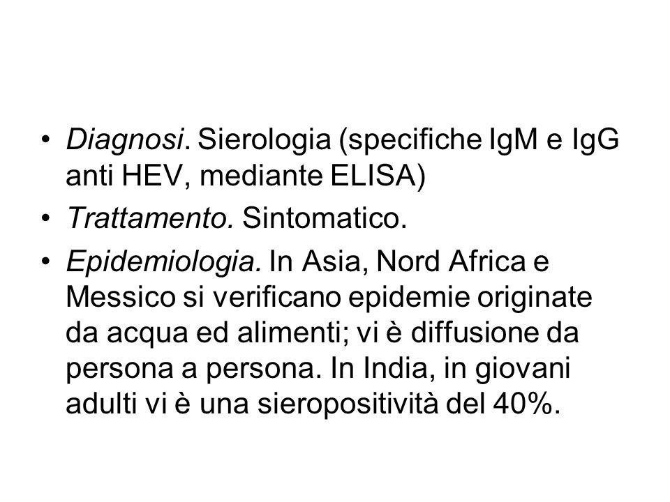 Diagnosi. Sierologia (specifiche IgM e IgG anti HEV, mediante ELISA)