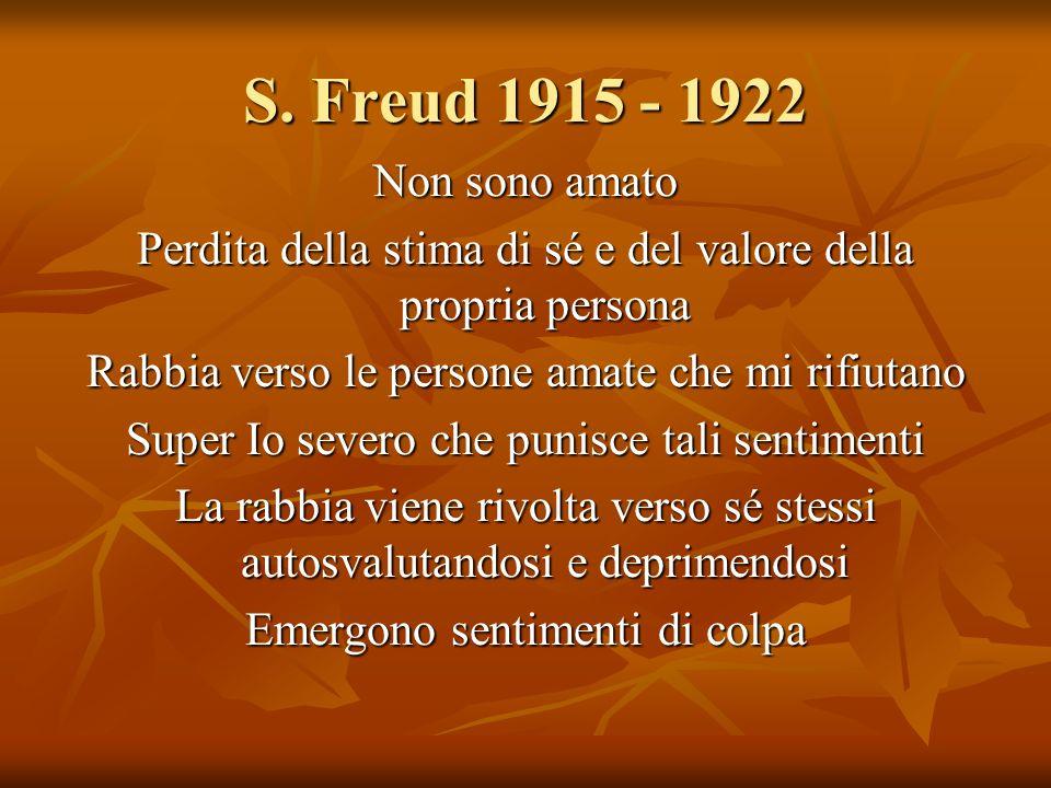 S. Freud 1915 - 1922 Non sono amato. Perdita della stima di sé e del valore della propria persona.
