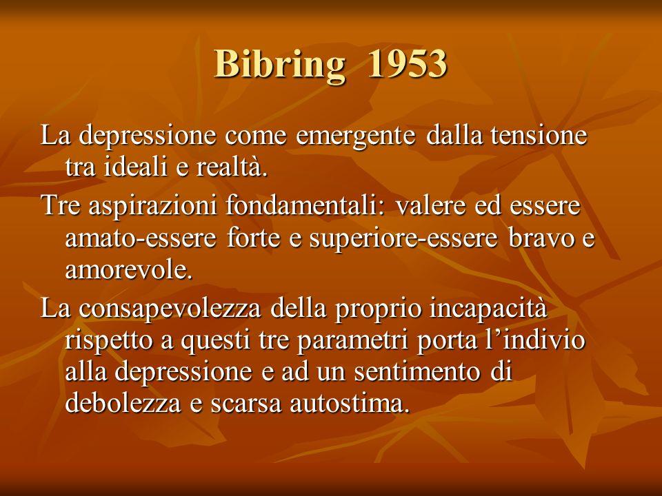 Bibring 1953 La depressione come emergente dalla tensione tra ideali e realtà.