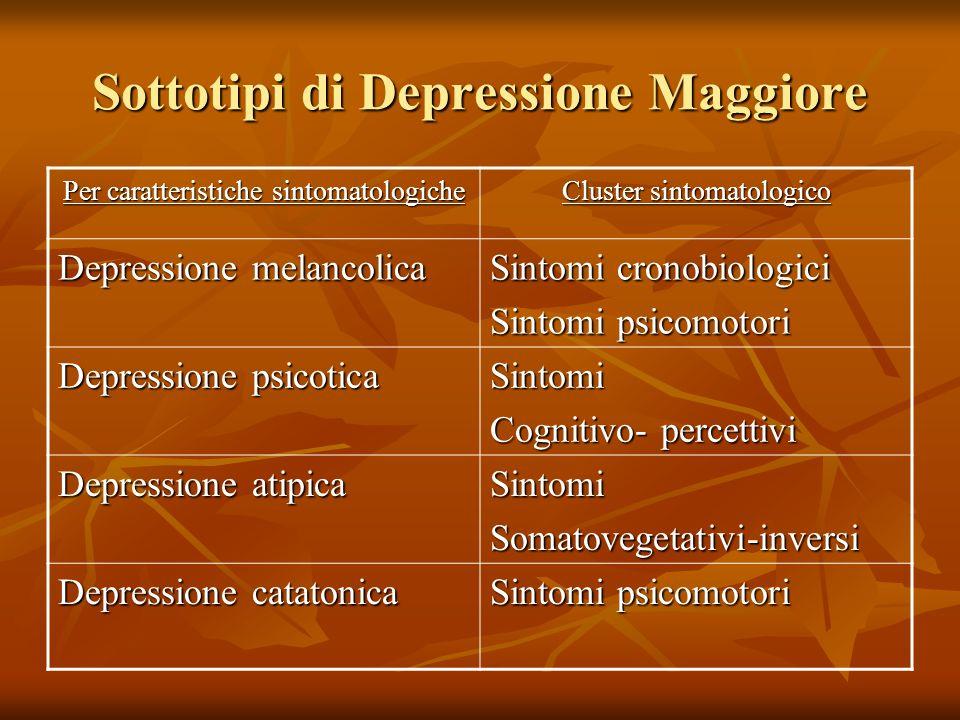 Sottotipi di Depressione Maggiore