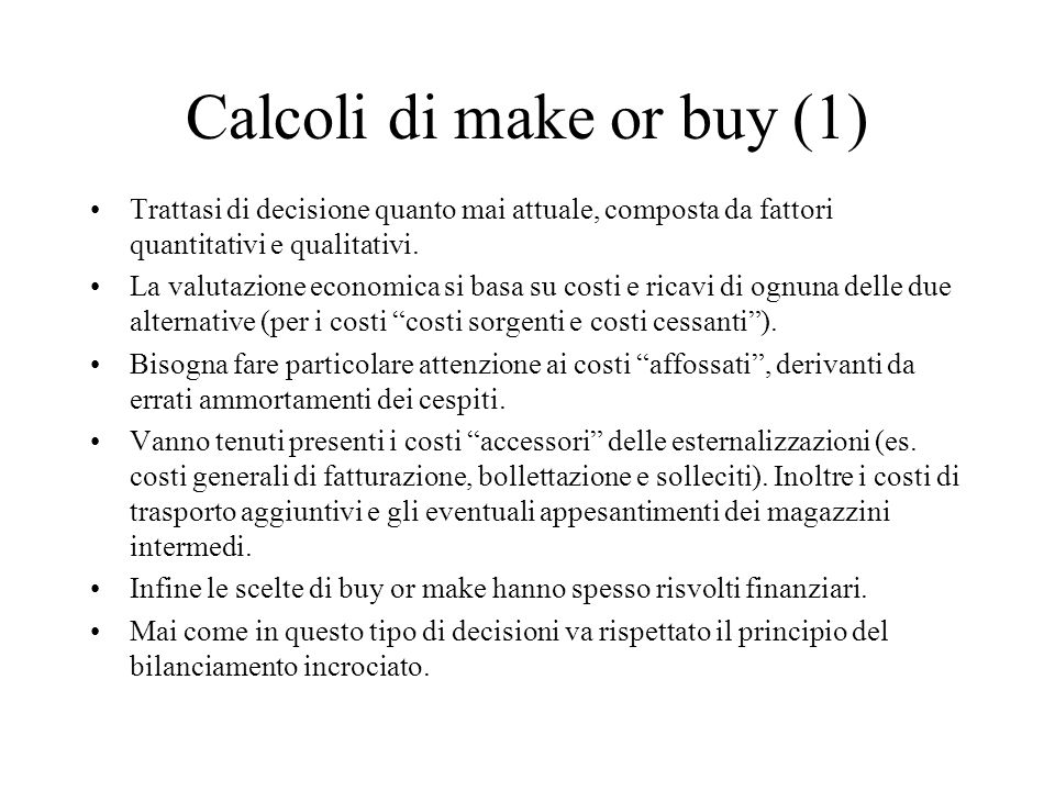 Calcoli di make or buy (1)