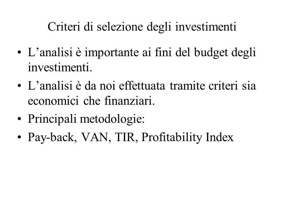 Criteri di selezione degli investimenti