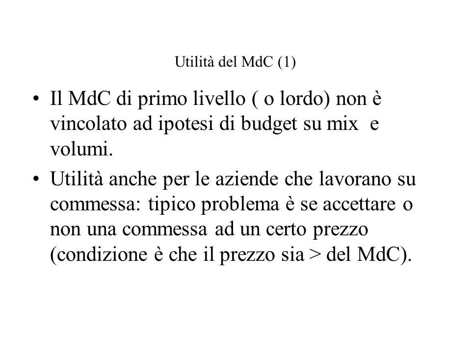 Utilità del MdC (1) Il MdC di primo livello ( o lordo) non è vincolato ad ipotesi di budget su mix e volumi.