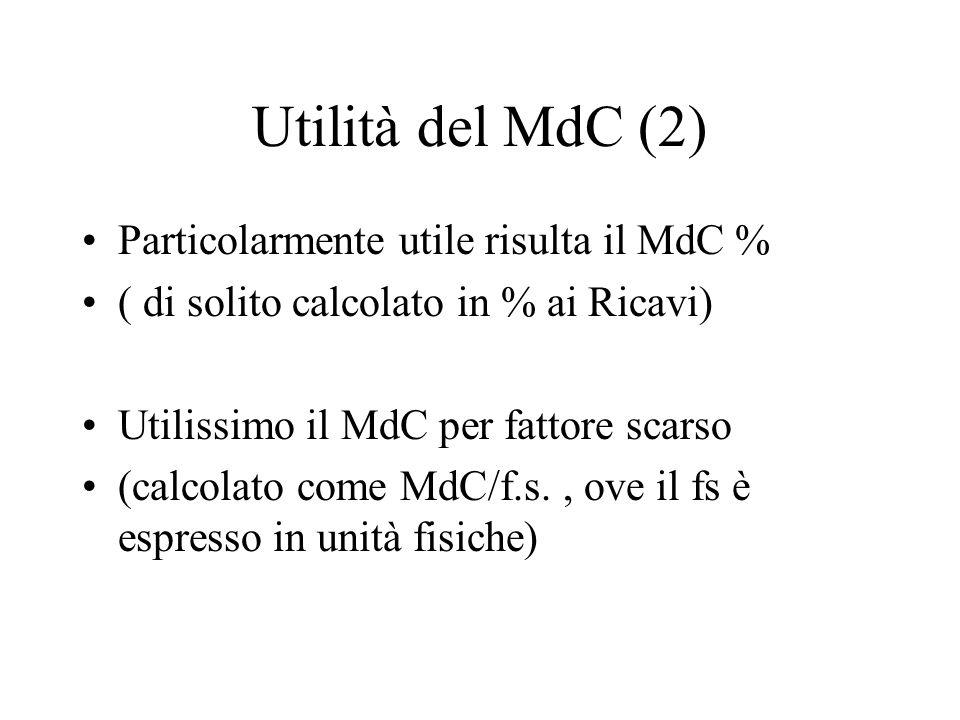 Utilità del MdC (2) Particolarmente utile risulta il MdC %