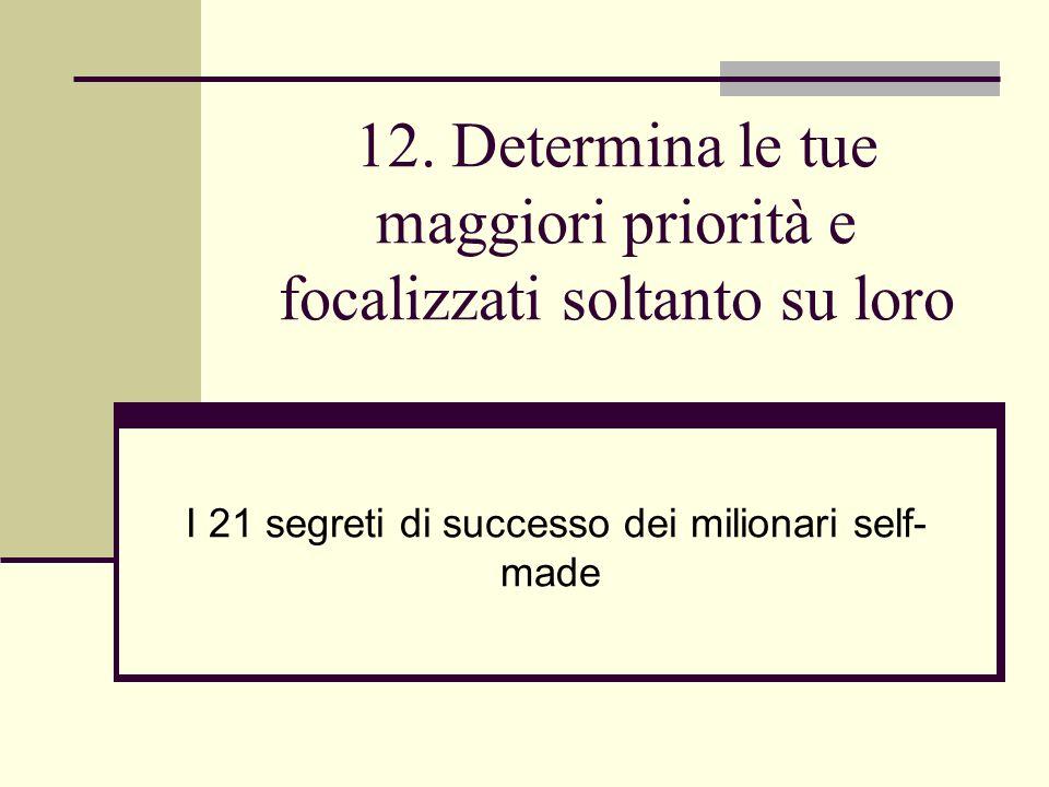 12. Determina le tue maggiori priorità e focalizzati soltanto su loro
