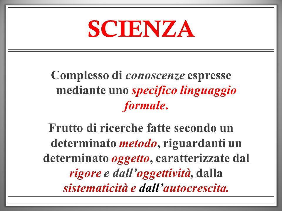 SCIENZA Complesso di conoscenze espresse mediante uno specifico linguaggio formale.