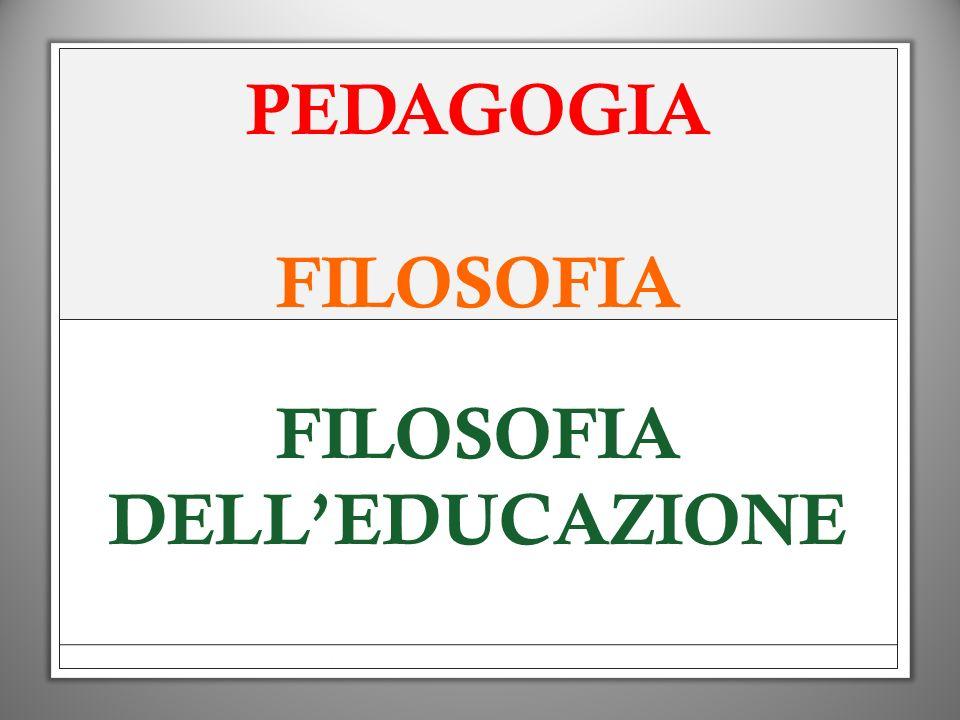 PEDAGOGIA FILOSOFIA FILOSOFIA DELL'EDUCAZIONE